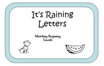 Raining Letters File Folder Game - Identifying Beginning Sounds