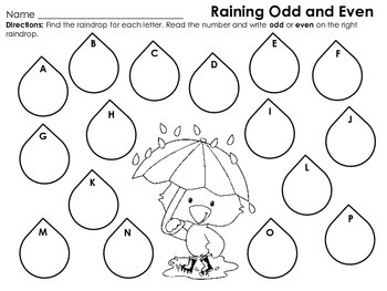 Raining Odd and Even Math and Movement Activity for First or Second Grades
