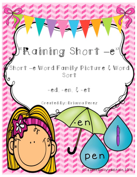 Raining Short -e Picture & Word Sort