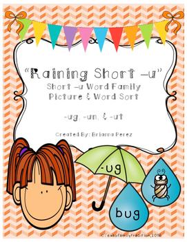 Raining Short -u Picture & Word Sort