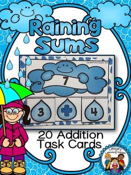 Raining Sums- Addition Math Center Activity (Addition to 20)