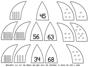 Raining Tens and Ones (Place Value Umbrellas)