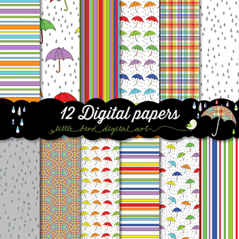 Rainy Day - 12 Digital Papers in Bright Colors with Colorful Umbrellas and Rain