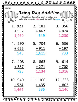 Rainy Day Addition Solve and Color Worksheets