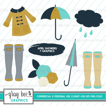 Rainy Day- April Showers- Clip Art Pack