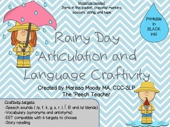 Rainy Day Articulation and Language Craftivity