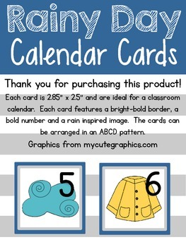 Rainy Day Calendar Cards