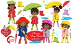 Rainy Day Clipart, African American Clipart, Weather Clip