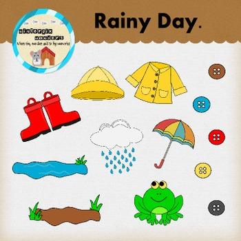 Rainy Day Clipart - Mud Puddle - Weather - Raincoat