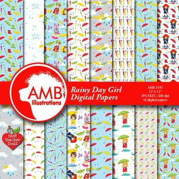 Rainy Day Digital Papers Scrapbooking Paper Amb 2141 By Best Teacher Tools