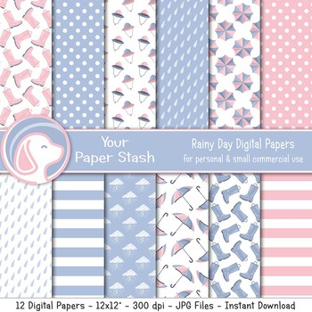 Rainy Day Digital Scrapbook Paper Backgrounds With Umbrellas Rain Boots Clouds