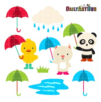 Rainy Day Friends Clip Art - Great for Art Class Projects!