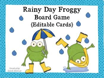 Rainy Day Froggy Board Game {Editable!}