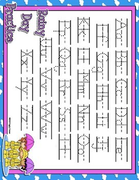 Rainy Day Full Sheet Dotted Letter with Line Alphabet Practice Mat Dry Erase