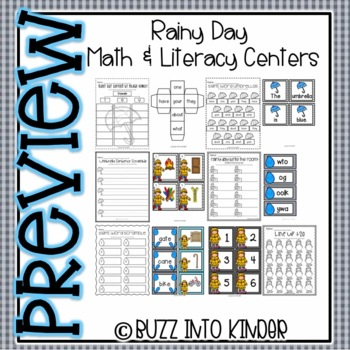 Rainy Day Fun : Literacy and Math Centers