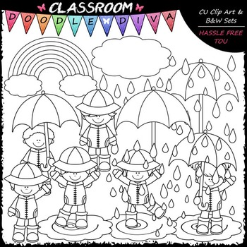 Rainy Day Kids Clip Art - Kids Playing In The Rain