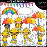 Rainy Day Kids - Clip Art & B&W Set