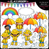 Rainy Day Kids - Clip Art & B&W Set