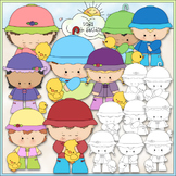 Rainy Day Kids 1 - Commercial Use Clip Art & Black & White Images