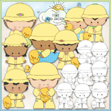 Rainy Day Kids 2 - Commercial Use Clip Art & Black & White Images