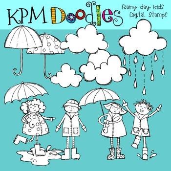 Rainy Day Kids Black line Clip Art