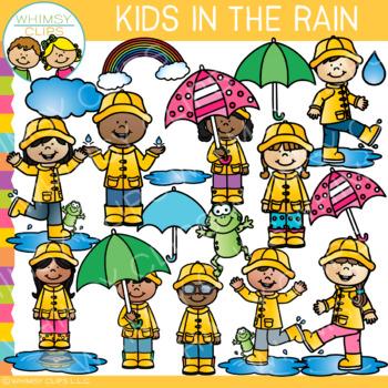 Kids in the Rain Clip Art