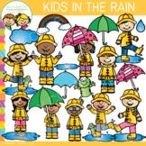 Kids in the Rain Clip Art {Whimsy Clips Spring Clip Art }