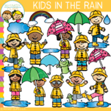 Kids in the Rain Clip Art