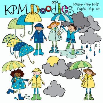 Rainy Day Kids Clip Art COMBO