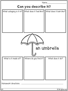 No Prep Language Worksheets and Homework - Rainy Day Themed
