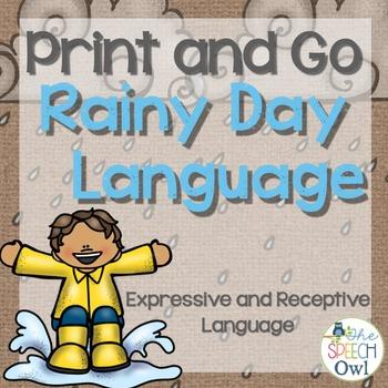 No Prep Language Worksheets and Homework - Rainy Day Themed