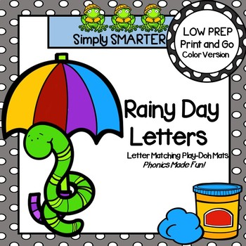 Rainy Day Letters:  LOW PREP Letter Matching Play Dough Mats