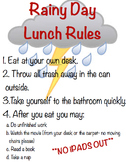 Rainy Day Lunch in the Classroom Rule Poster
