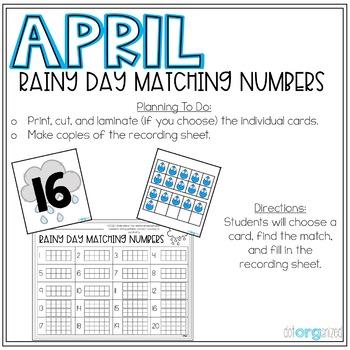 Rainy Day Matching Numbers 0-20 Ten Frame Kindergarten April Math Center