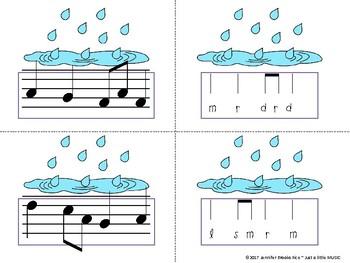 Rainy Day Melody Matching--A stick to staff notation game {re pentatonic}