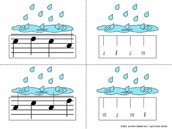 Rainy Day Melody Matching--A stick to staff notation game {sol mi la}