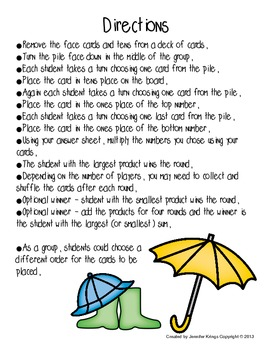 Rainy Day Mystery Multiplication
