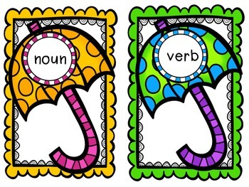 Rainy Day Nouns, Verbs and Adjectives
