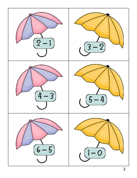 Rainy Day Number Partners (subtraction facts 1-3)