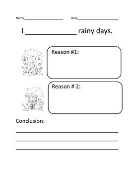 Rainy Day Opinion writing organizer