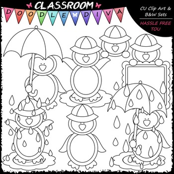Rainy Day Penguins Clip Art - April Showers Clip Art & B&W Set