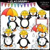 Rainy Day Penguins Clip Art - April Showers Clip Art & B&W Set