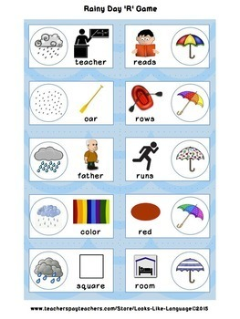 Speech Language R Sound Activities from Words to Carryover