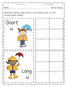 Rainy Day Short U, Long U Write the Room