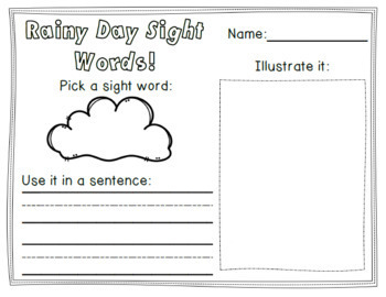 Rainy Day Sight Words! Kindergarten Literacy Activities