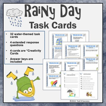 Indoor Recess? Fun Rainy Day Task Cards - 32 Water Themed Think Starters