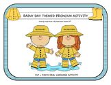 Rainy Day Theme Pronoun Activity Oral Language Cut + Paste SLP