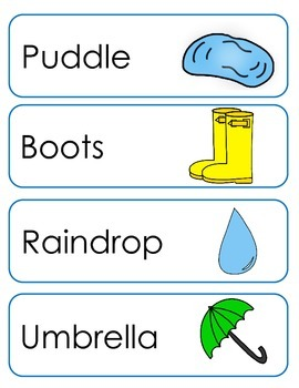 Rainy Day Vocabulary Cards and Spelling Practice