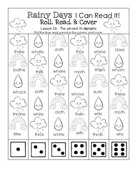 Rainy Days I Can Read It! Roll, Read, and Cover (Lesson 28 - wh and th digraphs)