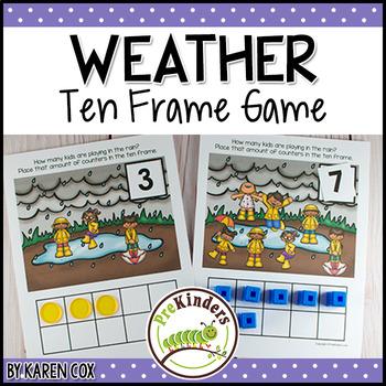 Rainy Weather Ten Frame Game  (Pre-K + K Math)